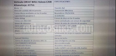 Great Wall Voleex C20 SR 1.5 usado (2014) color Blanco precio $4.850.000