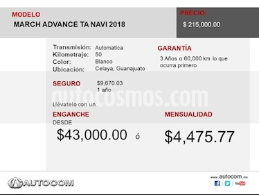 Foto venta Auto usado Nissan March MARCH ADVANCE TA NAVI (2018) color Blanco precio $215,000