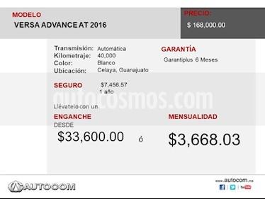 Foto Nissan Versa ADVANCE A/T A/C 1.6L usado (2016) precio $175,000