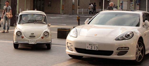 Subaru 360 vs. Porsche Panamera